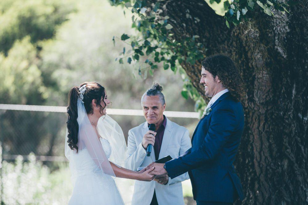 Wedding celebrant during ceremony