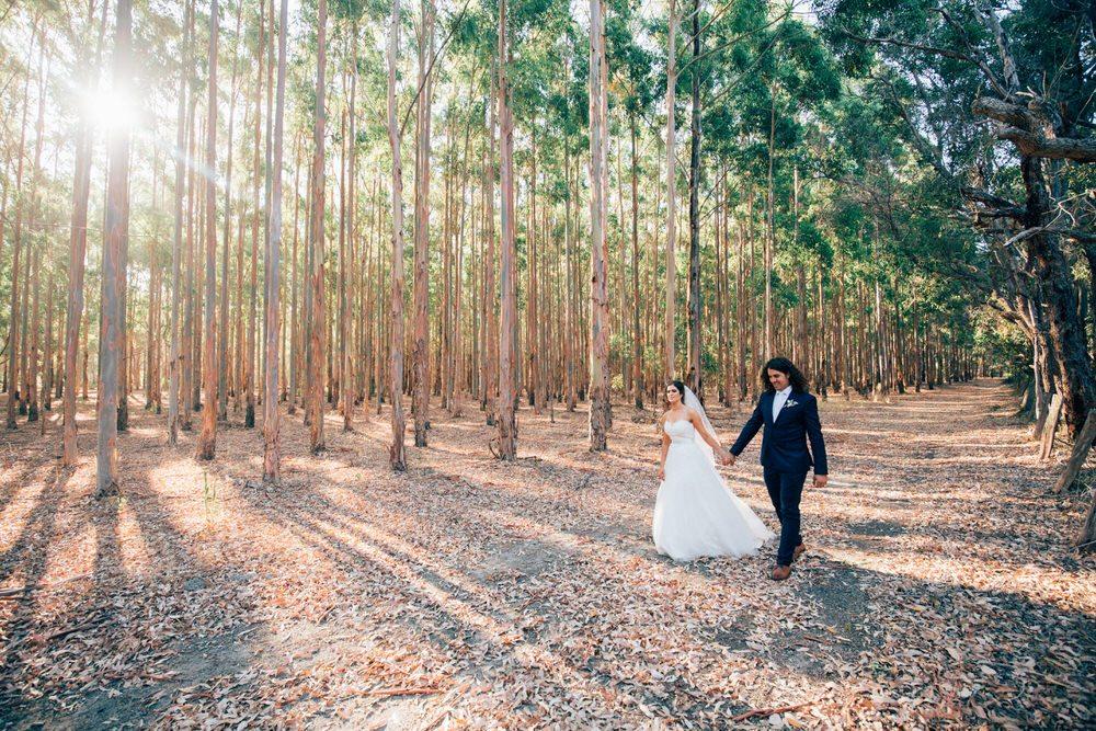 bride and groom walking in the bush