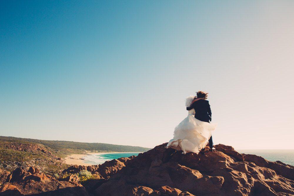 bride and groom beach shot