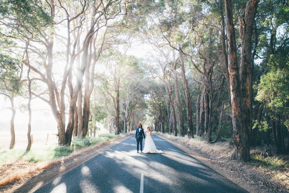 bride and groom in the bush