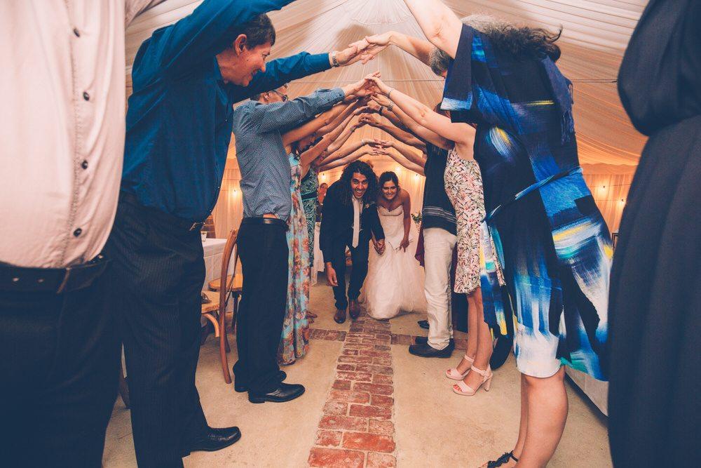 married couple leaving wedding