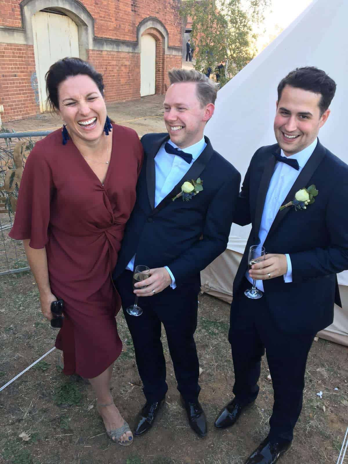 Melbourne Celebrant Nat Sproal with Andy and Dave