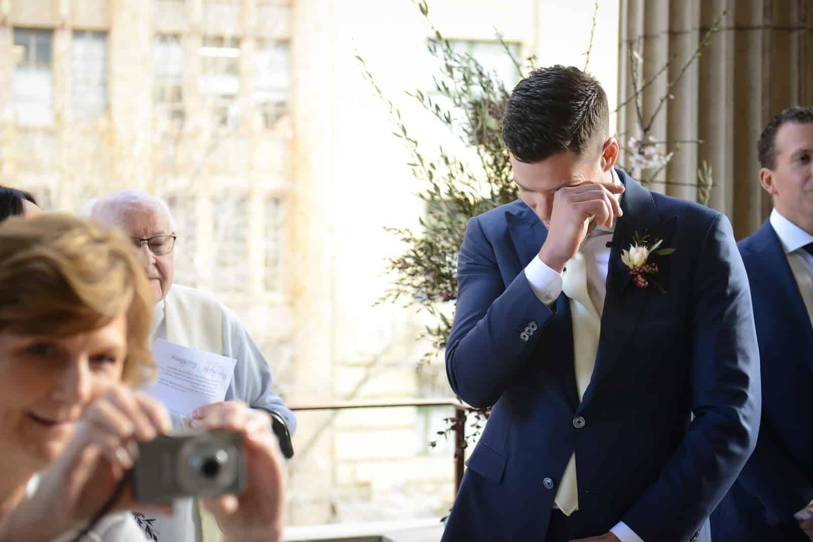 Emily Simms Melbourne Wedding Tears