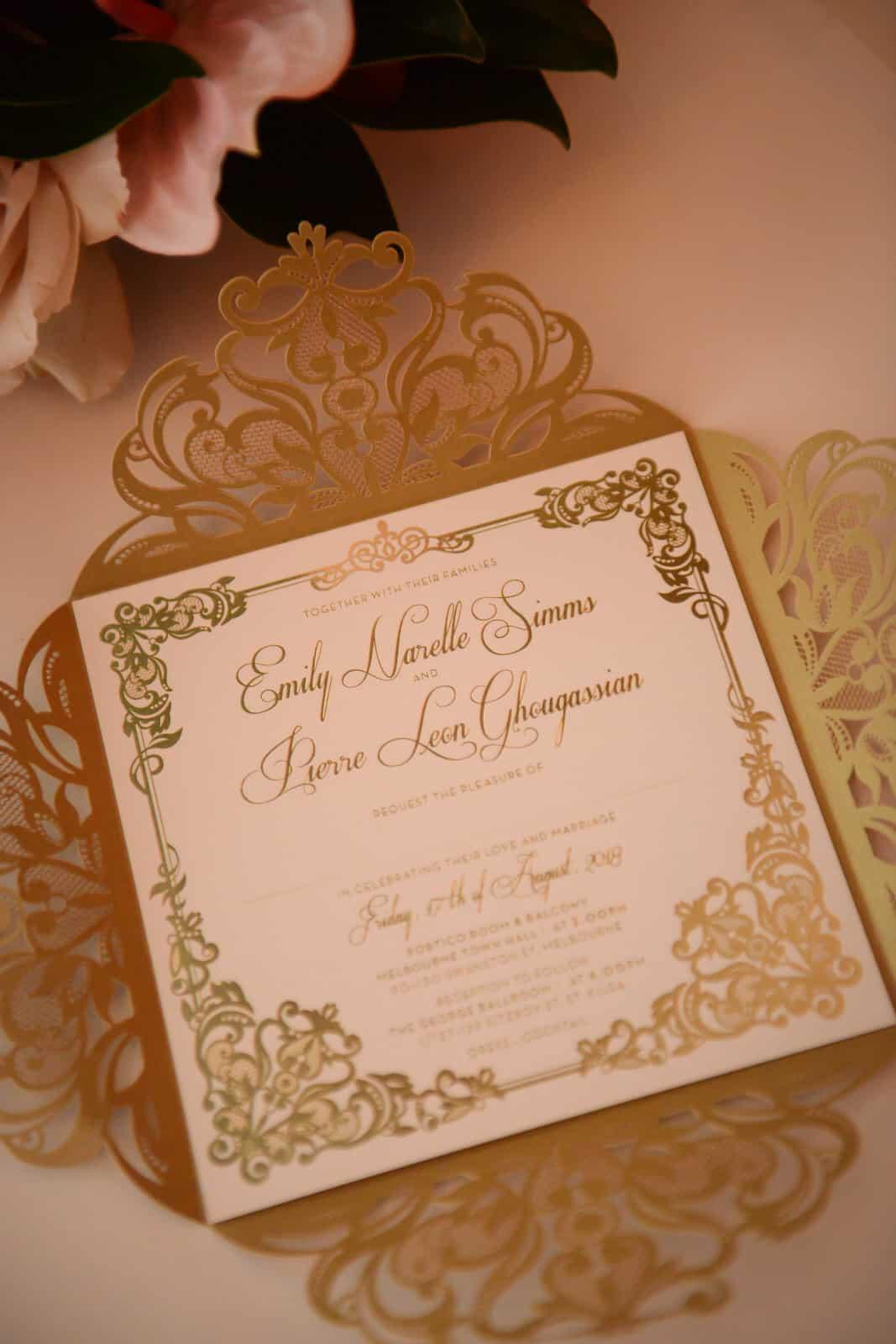 Emily Simms Melbourne Wedding Invitation @ The George Ballrooom