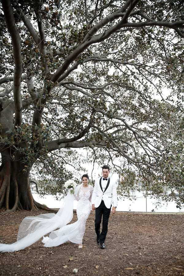Husband and wife outdoor wedding photo