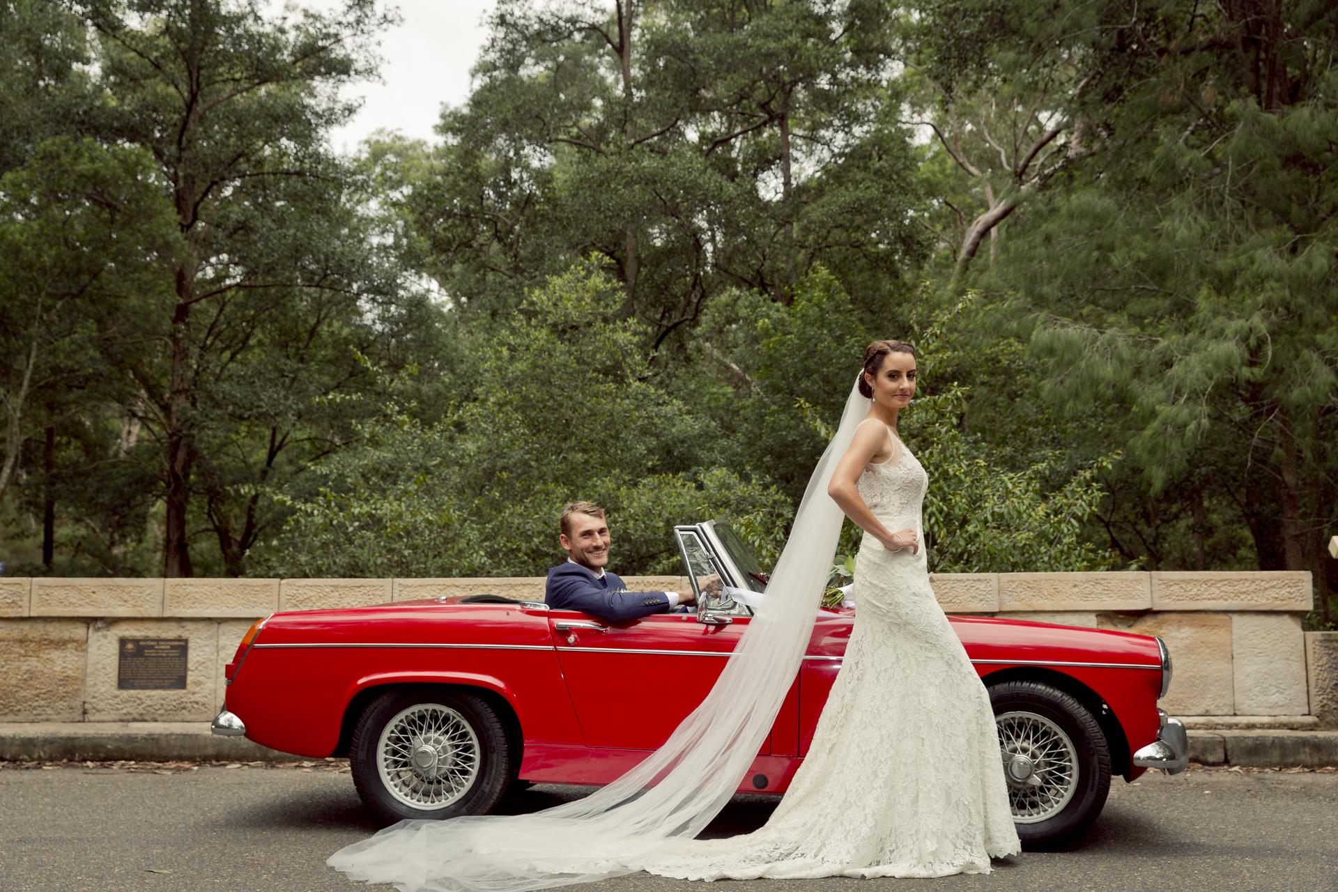 wedding dresses and wedding car