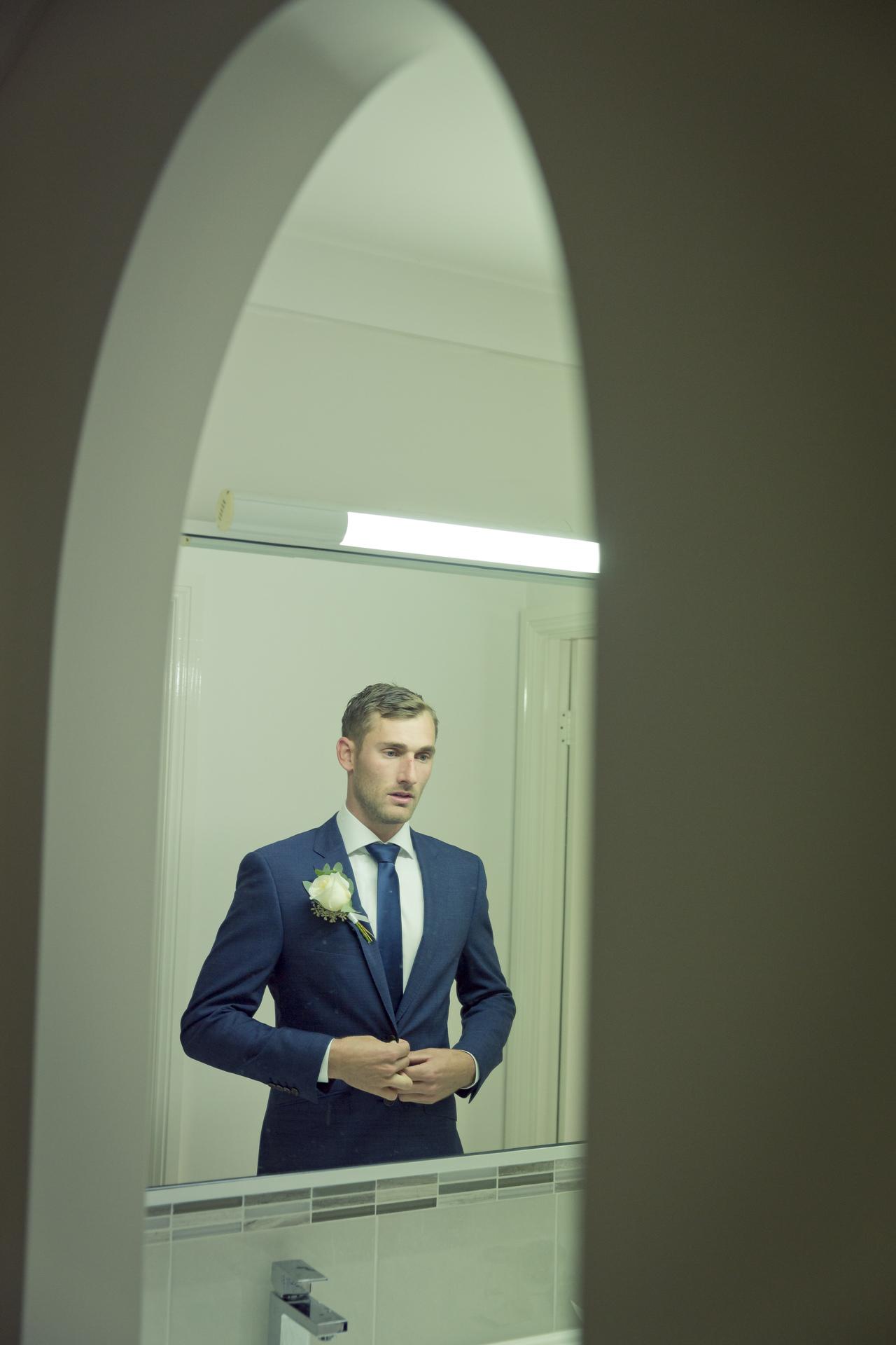 groom in suit | Penrith Backyard Wedding
