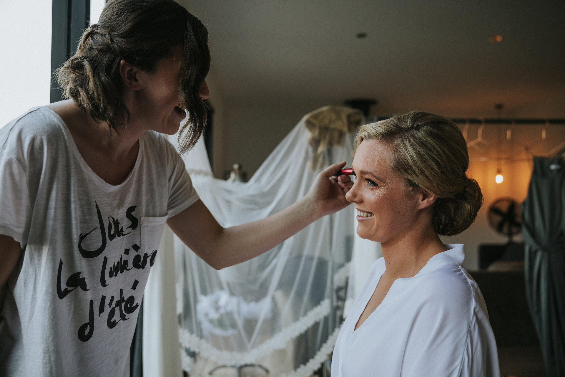 Natasha getting ready for the wedding