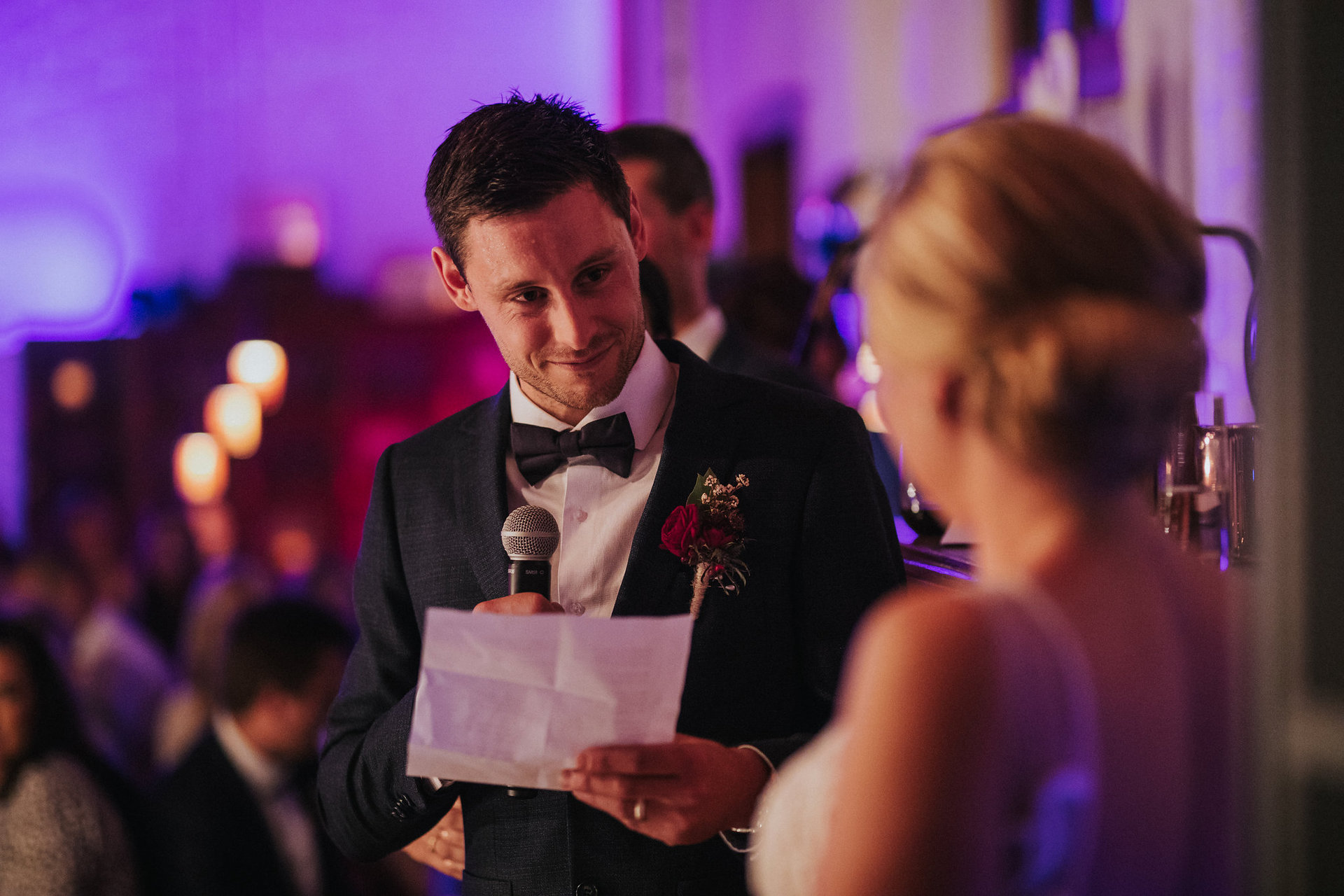 Groom making speech at wedding